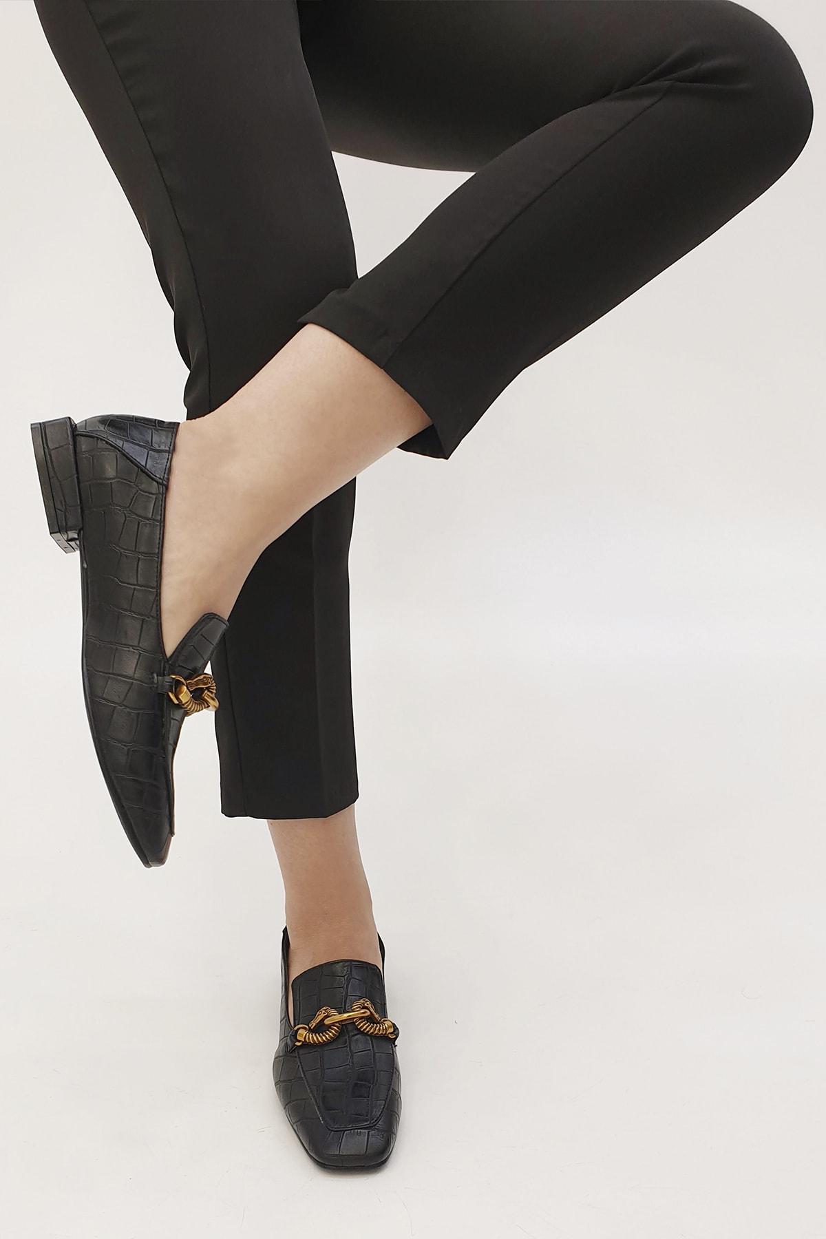 Marjin Kadın Siyah Croco Loafer Ayakkabı Alva 1