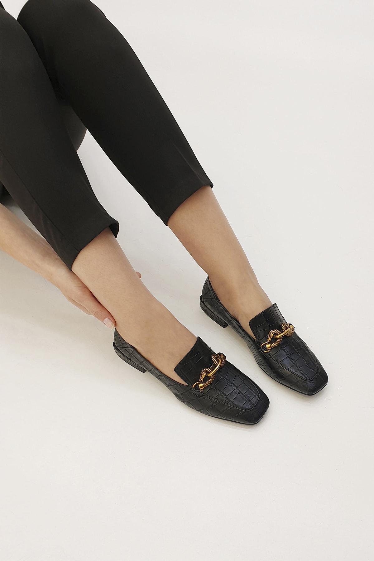 Marjin Kadın Siyah Croco Loafer Ayakkabı Alva 2