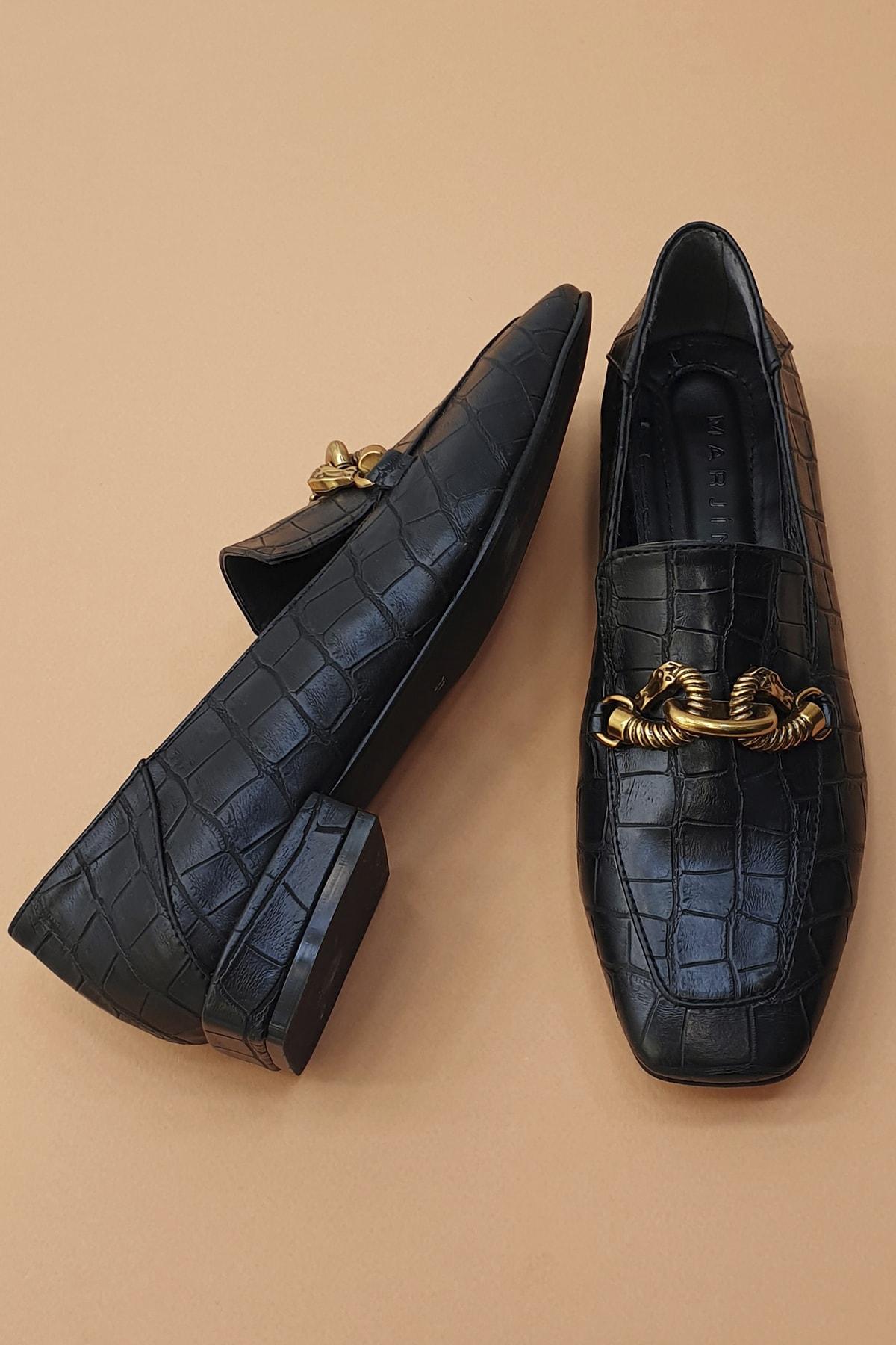 Marjin Kadın Siyah Croco Loafer Ayakkabı Alva 4