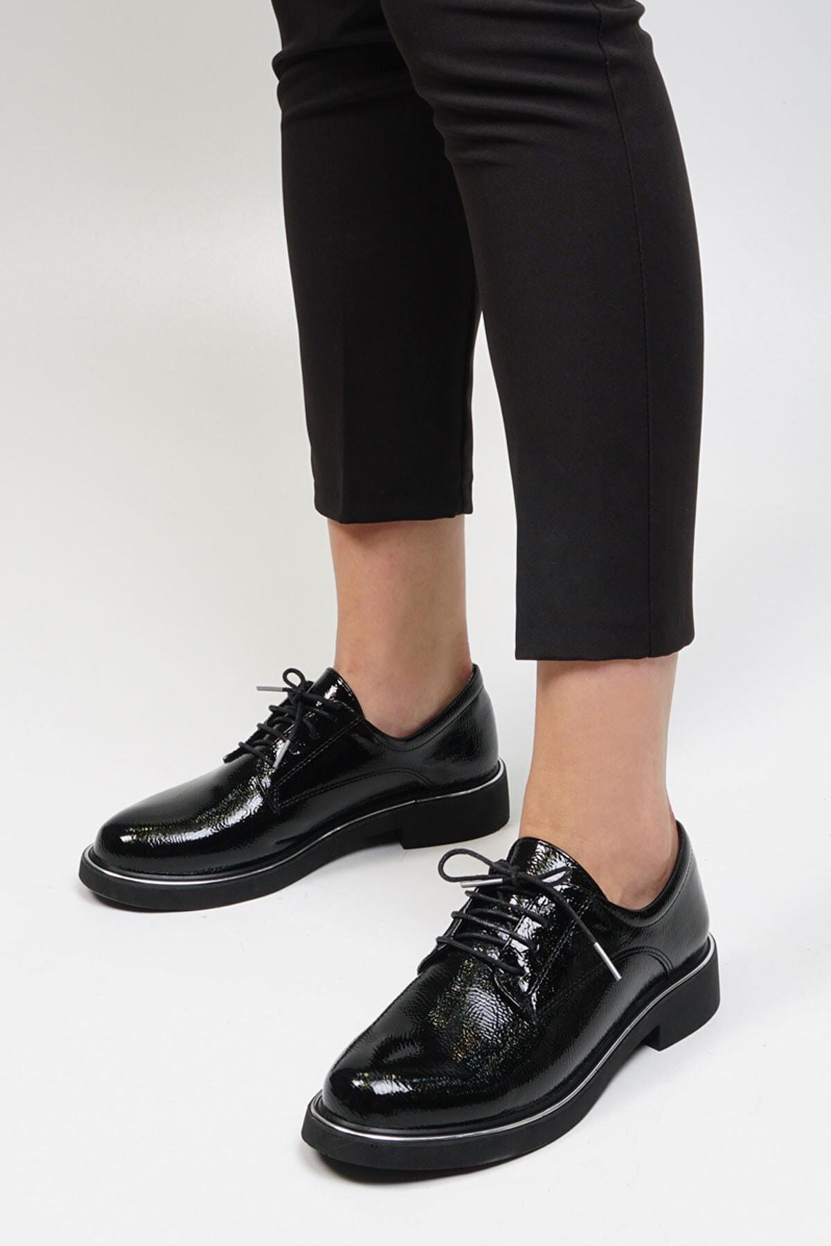 Marjin Kadın Siyah Rugan Oxford Ayakkabı Terva 2