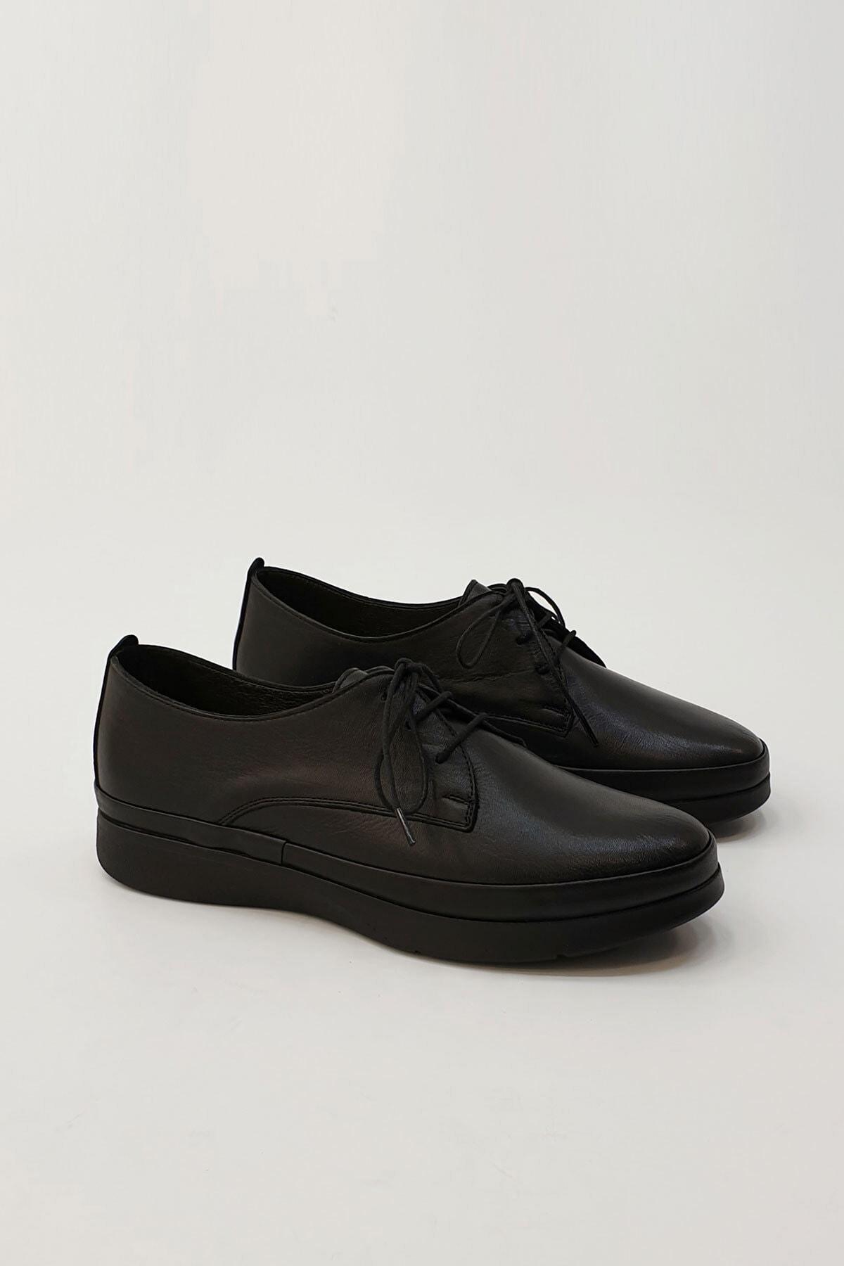 Marjin Porvez Kadın Hakiki Deri Comfort Ayakkabısiyah 4