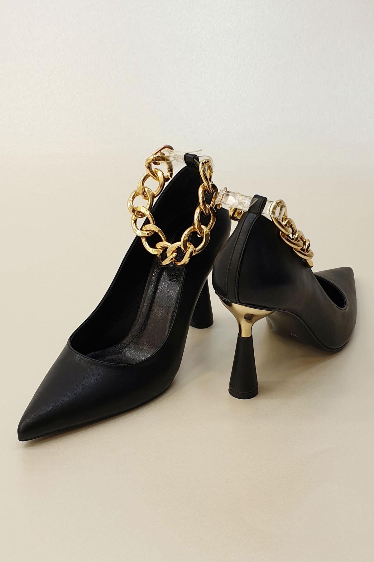 Marjin Kadın Siyah Stiletto Topuklu Ayakkabı Nazita 4