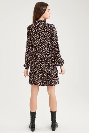Defacto Kadın Siyah Volan Detaylı Dokuma Gömlek Elbise 3