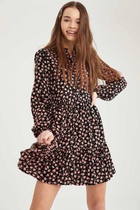 Defacto Kadın Siyah Volan Detaylı Dokuma Gömlek Elbise 4