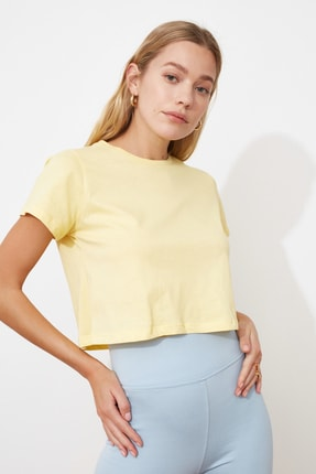 TRENDYOLMİLLA Sarı %100 Pamuk Süprem Bisiklet Yaka Crop Örme T-Shirt TWOSS20TS0135 2