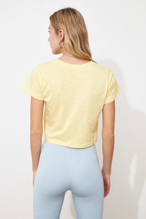TRENDYOLMİLLA Sarı %100 Pamuk Süprem Bisiklet Yaka Crop Örme T-Shirt TWOSS20TS0135 3