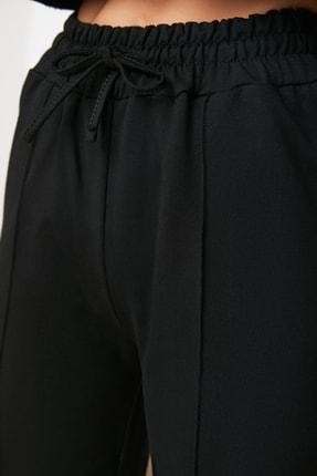 TRENDYOLMİLLA Siyah Straight Fit Örme Eşofman Altı TWOAW21EA0311 2