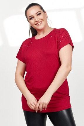 تصویر از Kadın Bordo Omzu Inci Taş Çakım Kısa Kol Büyük Beden Bluz