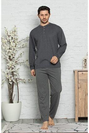 Işılay Erkek Gri Uzun Kollu Ince Pijama Takımı 0