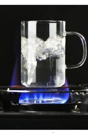Kitchen Life 3 adet Ateşe Dayanıklı Cam Kupa Ve 3 adet Çini Bardak Altlığı 1