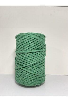 Akduman İplik 500 gr 3mm Tek Büküm Benetton Yeşili Renk Pamuklu Makrome Ipi 0