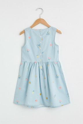 LC Waikiki Kız Çocuk Mavi Çizgili Len Elbise 1