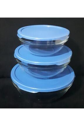 Paşabahçe Cam Chefs 3lü Kase Saklama Kabı Mavi Kapak 0