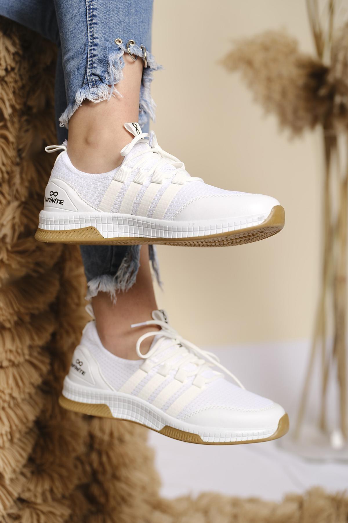 Infinite Renk Detaylı Fileli Kalın Taban Kadın Sneaker