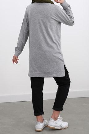 Ekrumoda Kadın Gri Pamuklu Sweatshirt 4
