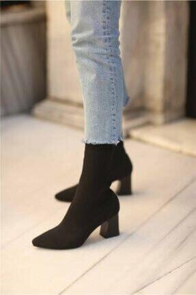 GARDA Kadın Siyah Topuklu Çorap Model Bilekte 0