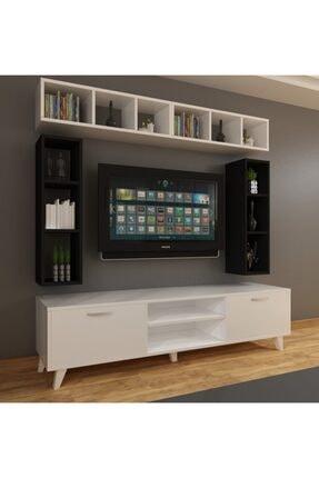 Dekormer Design Tv Ünitesi Dolaplı Siyah Beyaz 180 Cm Ve Kitaplık 2
