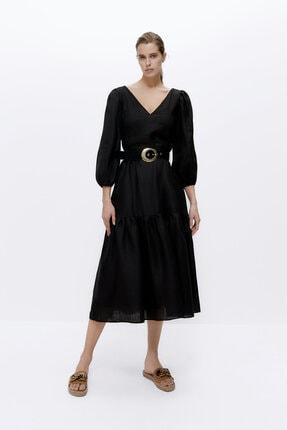 Kadın Siyah Kemerli Siyah Keten Elbise 00543253