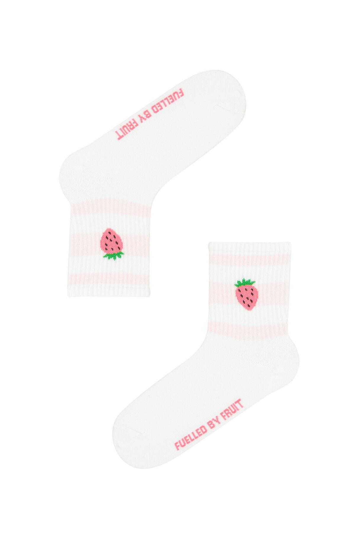 Penti Kadın Beyaz Cool Fruıt Soket Çorap 2