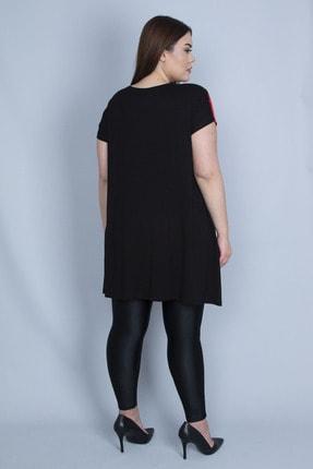 Şans Kadın Kırmızı Renk Kombinli Taş Detaylı Tunik 65N23129 4