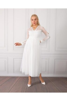 Beyaz Kol Dekolteli Elbise KA059