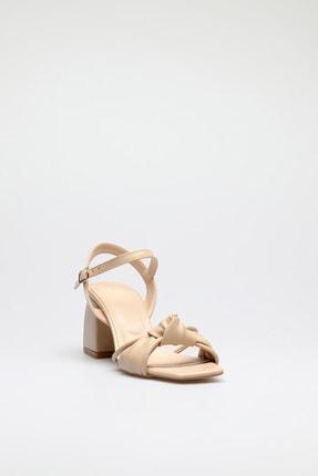 ALTINAYAK Kadın Ten Burgi Bant Detay Kare Kalıp Sandalet 2