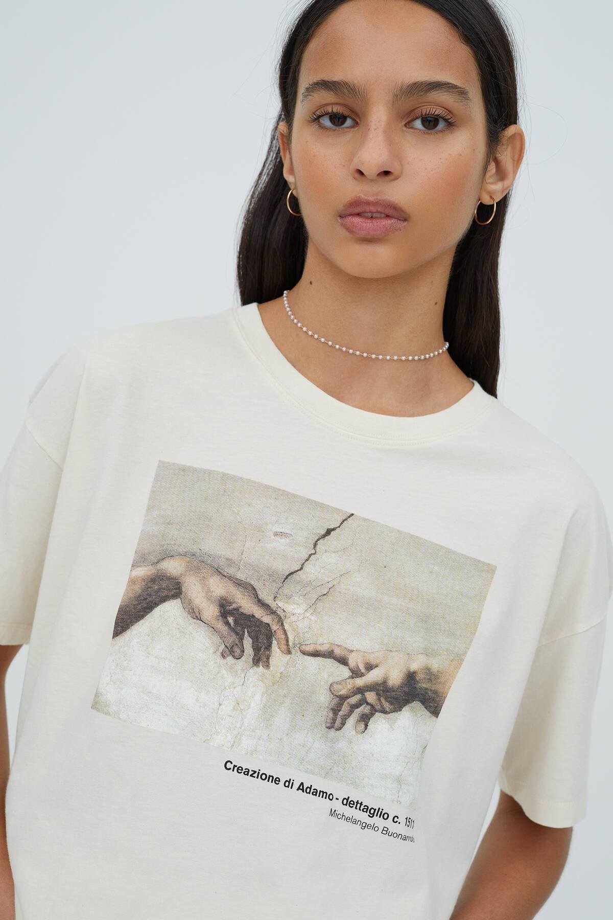 Pull & Bear Kadın Ekru Michelangelo Sistina Şapeli Görselli T-shirt 3