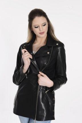 Kadın Siyah Deri Ceket Zg2025si 234