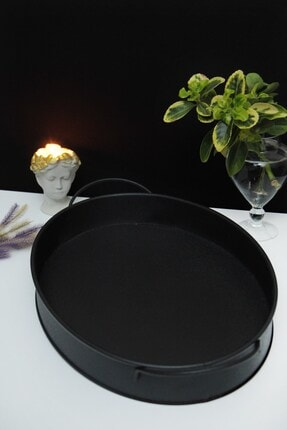 Esafe Home 35x26 Cm Siyah Dekoratif Metal Tepsi 2