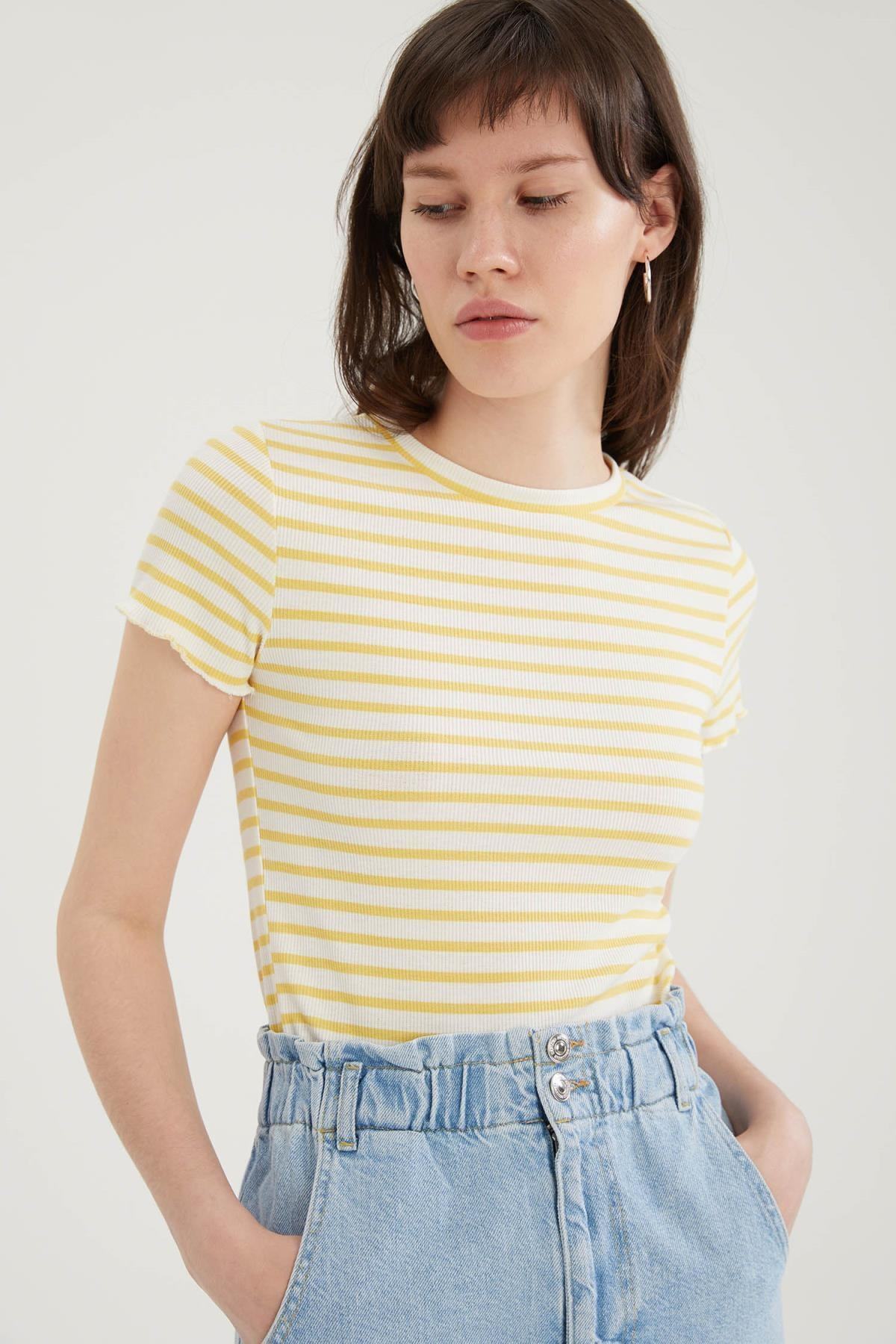 Çizgili Slim Fit Kısa Kollu Tişört