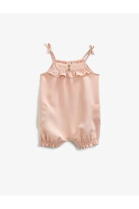 Koton Kız Bebek Pembe Askılı Fırfırlı Tulum 0