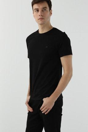 Network Erkek Slim Fit Siyah T-shirt 1077937 1