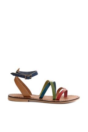 Bambi Hakiki Deri Çok Renkli Kadın Sandalet L0602809503 1