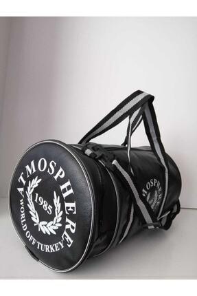 Butik Unisex Siyah Silindir Spor Çantası 0