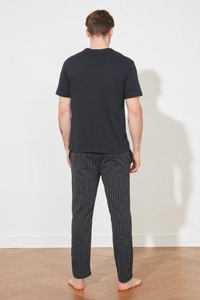 TRENDYOL MAN Lacivert Sloganlı Örme Pijama Takımı THMAW21PT0393 3