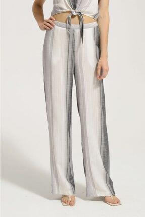 Kadın Siyah Beyaz Keten Pantalon Y42732