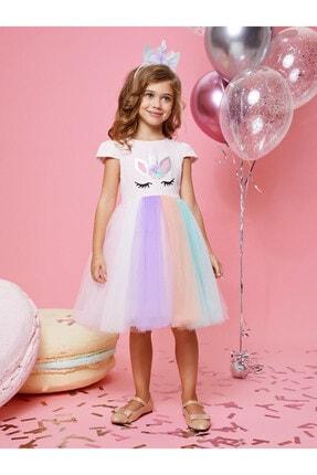 Buse&Eylül Bebe Kız Çocuk Pembe Unicorn Taçlı   Parti Elbisesi 0