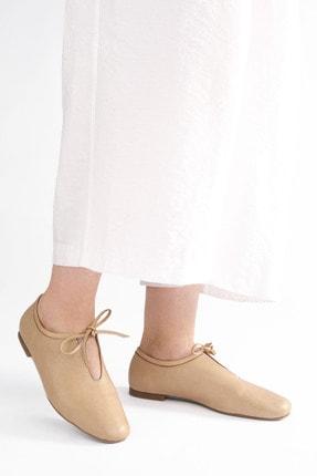 Marjin Kadın Bej Hakiki Deri Günlük Ayakkabı Burlas 1