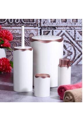 Azra 4 Parça Akrilik Beyaz Mat Bakır Banyo Seti 0