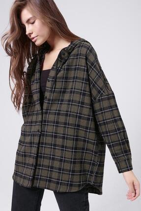 Pattaya Kadın Haki Ekoseli Kapşonlu Oduncu Gömlek P20W-4810 0