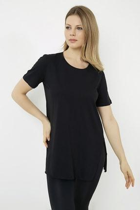 Vis a Vis Kadın Siyah Yanları Yırtmaçlı Uzun T-shirt 0