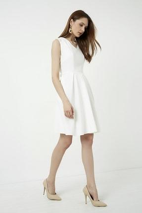 Vis a Vis Kadın Beyaz Kolsuz Kloş Elbise 2