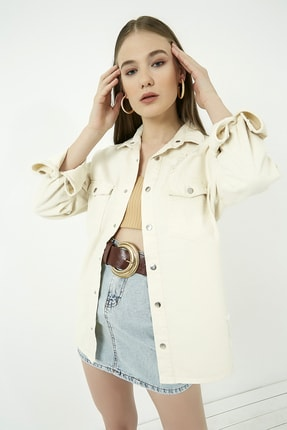 Vis a Vis Kadın Bej Yırtıklı Kot Ceket Gömlek  STN443KGO160 3