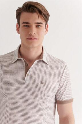 Avva Erkek Vizon Polo Yaka Double Kol Baskılı T-shirt A11y1137 2
