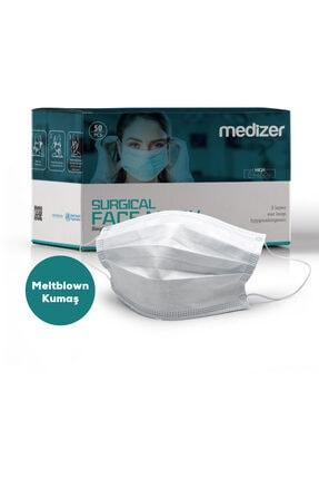 Sabomar Medizer Full Ultrasonik Cerrahi Ağız Maskesi 3 Katlı Meltblown Kumaş 50 Adet - Burun Telli 1