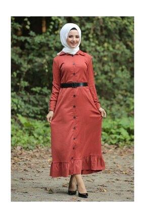 Tesettür Dünyası Kadın Volanlı Kadife Elbise TSD1847 Kiremit TSD1847 2