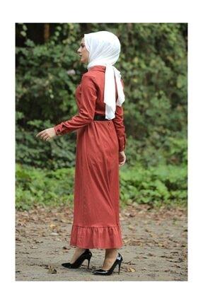 Tesettür Dünyası Kadın Volanlı Kadife Elbise TSD1847 Kiremit TSD1847 3