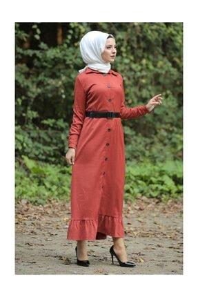 Tesettür Dünyası Kadın Volanlı Kadife Elbise TSD1847 Kiremit TSD1847 4