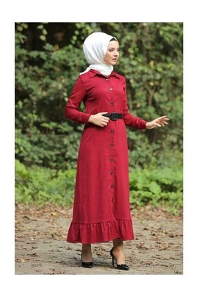 Tesettür Dünyası Volanlı Kadife Elbise Tsd1847 Kırmızı 1