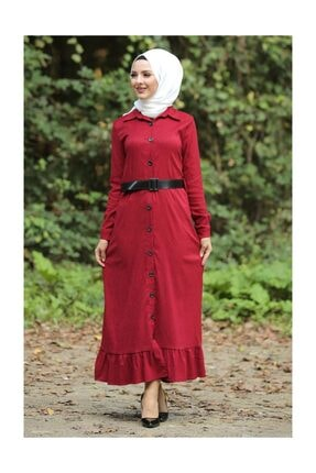 Tesettür Dünyası Volanlı Kadife Elbise Tsd1847 Kırmızı 3